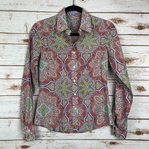 J. McLaughlin Paisley Silk Button Up Blouse